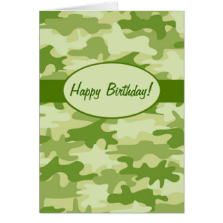 Olive Green Camo Camouflage Happy Birthday Custom Card