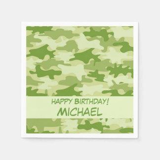 Olive Green Camo Camouflage Happy Birthday Name Standard Cocktail Napkin
