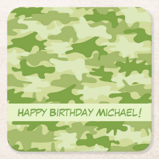 Olive Green Camo Camouflage Happy Birthday Name Square Paper Coaster