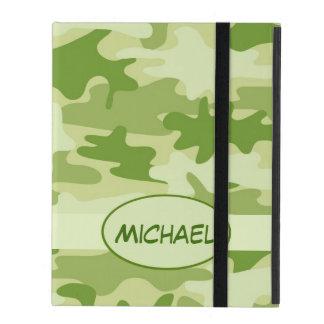 Olive Green Camo Camouflage Name Personalize iPad Folio Case