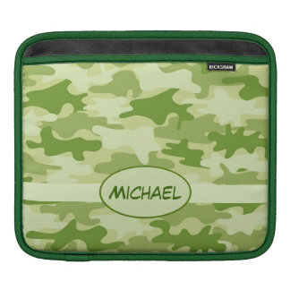 Olive Green Camo Camouflage Name Personalize iPad Sleeve