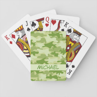 Olive Green Camo Camouflage Name Personalize Poker Card Deck