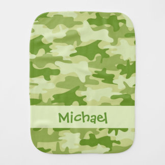 Olive Green Camo Camouflage Name Personalized Baby Burp Cloth