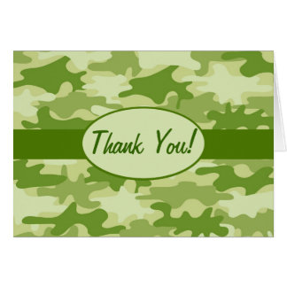 Olive Green Camo Camouflage Thank You Custom Card