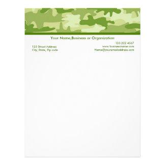 Olive Green Camouflage Custom Stationery Letterhead