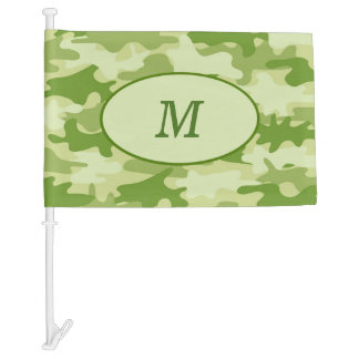 Olive Green Camouflage Monogram Initial Window Car Flag