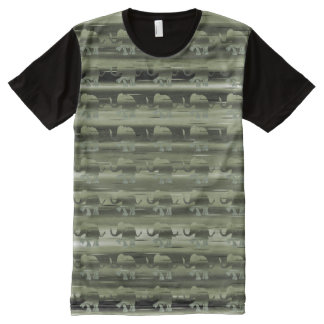 Olive-Green Camouflage Stripes and Elephants All-Over-Print T-Shirt