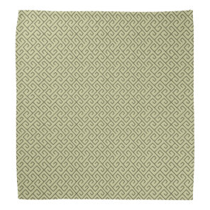 Olive Green Celtic Spiral Right Angle Lines Bandana