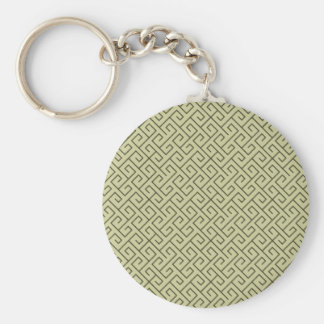 Olive Green Celtic Spiral Right Angle Lines Basic Round Button Keychain