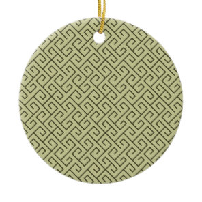 Olive Green Celtic Spiral Right Angle Lines Ceramic Ornament