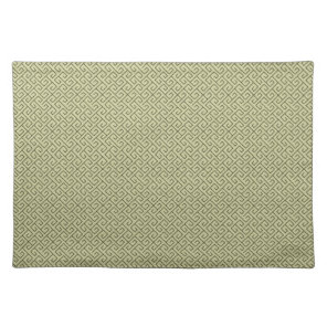 Olive Green Celtic Spiral Right Angle Lines Cloth Placemat