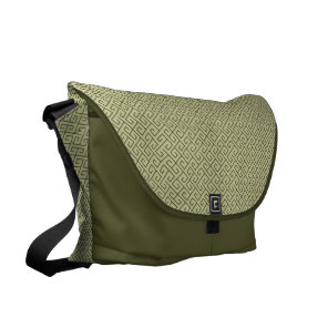 Olive Green Celtic Spiral Right Angle Lines Courier Bag