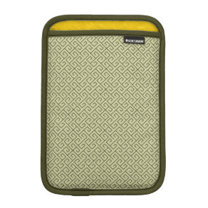 Olive Green Celtic Spiral Right Angle Lines iPad Mini Sleeve