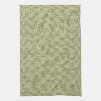 Olive Green Celtic Spiral Right Angle Lines Kitchen Towel