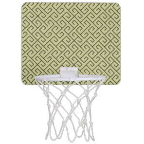 Olive Green Celtic Spiral Right Angle Lines Mini Basketball Backboard