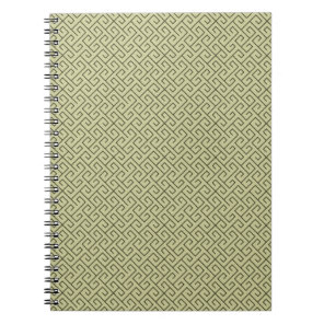 Olive Green Celtic Spiral Right Angle Lines Notebook