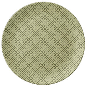 Olive Green Celtic Spiral Right Angle Lines Plate