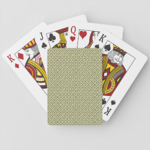 Olive Green Celtic Spiral Right Angle Lines Playing Cards