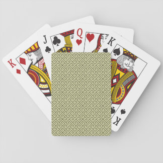 Olive Green Celtic Spiral Right Angle Lines Poker Cards