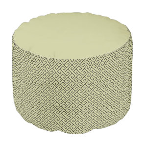 Olive Green Celtic Spiral Right Angle Lines Pouf