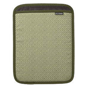 Olive Green Celtic Spiral Right Angle Lines Sleeve For iPads