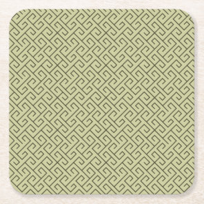 Olive Green Celtic Spiral Right Angle Lines Square Paper Coaster