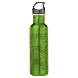 Olive Green Celtic Spiral Right Angle Lines Stainless Steel Water Bottle