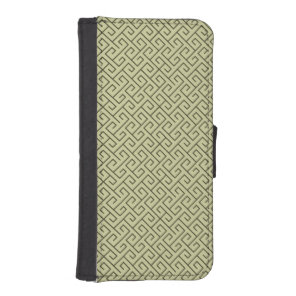 Olive Green Celtic Spiral Right Angle Lines Wallet Phone Case For iPhone SE/5/5s