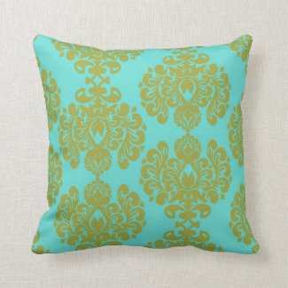 Olive Chartreuse and Aqua Fleur Damask Pillows