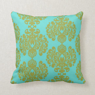 olive green chartreuse and aqua blue  fleur damask throw pillow