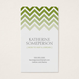 Olive Green Chevron Ombre Mom Calling Cards