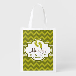 Olive Green Chevron Stripes Baby Shower Reusable Grocery Bag