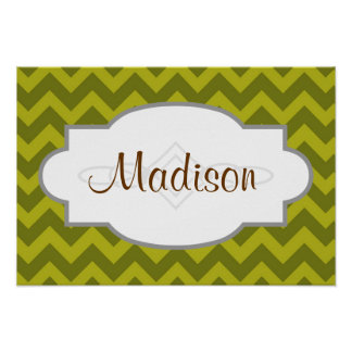 Olive Green Chevron Stripes Print
