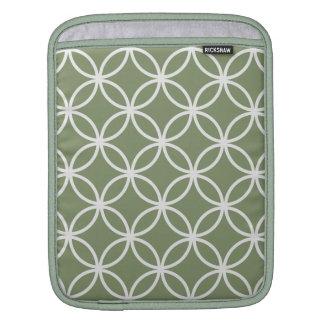 Olive Green Circular Pattern iPad Sleeve
