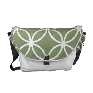 Olive Green Circular Pattern Messenger Bag