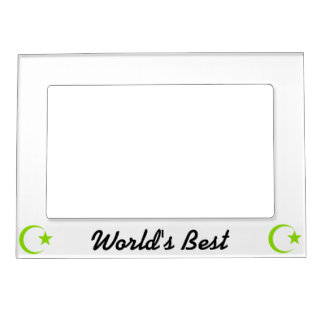 Olive Green Crescent & Star.png Magnetic Picture Frame