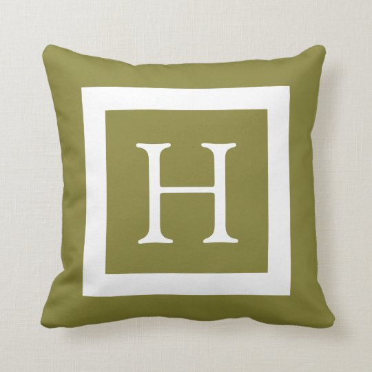 Olive Green Custom Monogram Throw Pillow