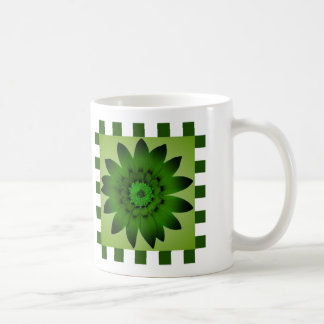 Olive Green Daisy Flower Pattern Stripes - Mug