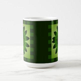 Olive Green Daisy Flower, Pattern Stripes - Mug