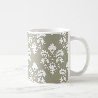 Olive Green Damask Coffee Mug