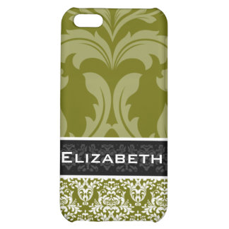 Olive Green Damask iPhone 4 Case With Your Name
