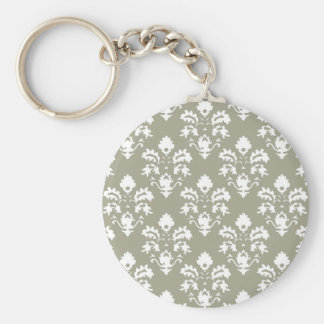 Olive Green Damask Keychain