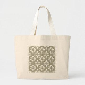 Olive Green Damask Large Tote Bag