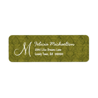 Olive Green Damask Monogram M or Any Initial M006 Label