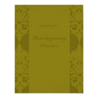 Olive Green Damask Thanksgiving Dinner Invite