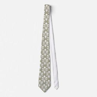 Olive Green Damask Tie