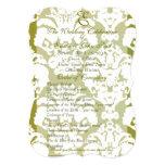 "Olive Green Damask Wedding Program 5"" X 7"" Invitation Card"