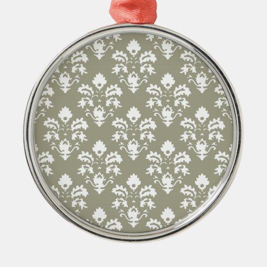Olive Green Damsask Ornament