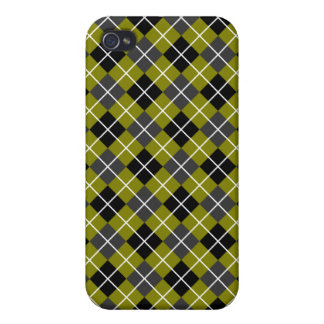 Olive Green, Dark Grey Black and White Argyle iPhone 4/4S Cover