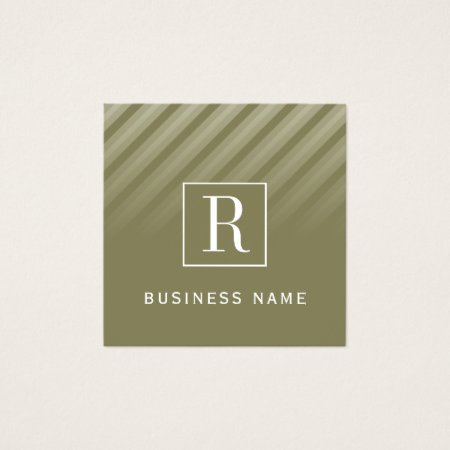Stylish Masculine Contemporary Olive Green Diagonal Stripes Financial Consultant Business Cards
